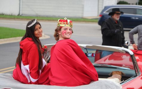 Isabella Gil and Mike McKay getting ready to leave for the parade.