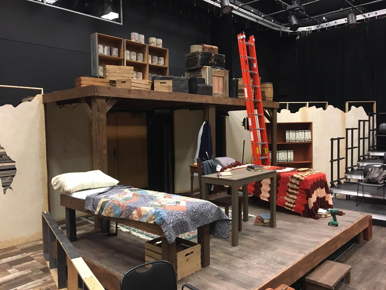 The set of The Diary of Anne Frank is complete with real furniture.