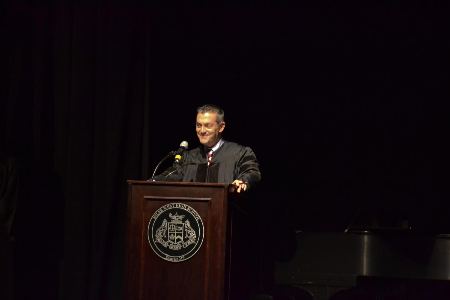 Principal Dr. Jason Ness speaks about leadership during NHS induction.