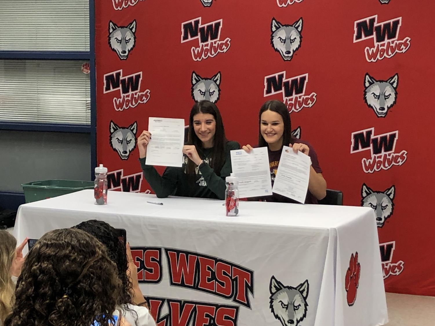 Seniors Natalia Pehar and Sam Galanopoulos signing to college to continue their athletic careers.