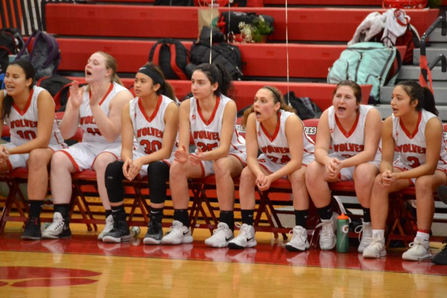 The+girls+varsity+basketball+team+cheering+on+their+teammates+during+the+first+half+of+the+game+on+senior+night.