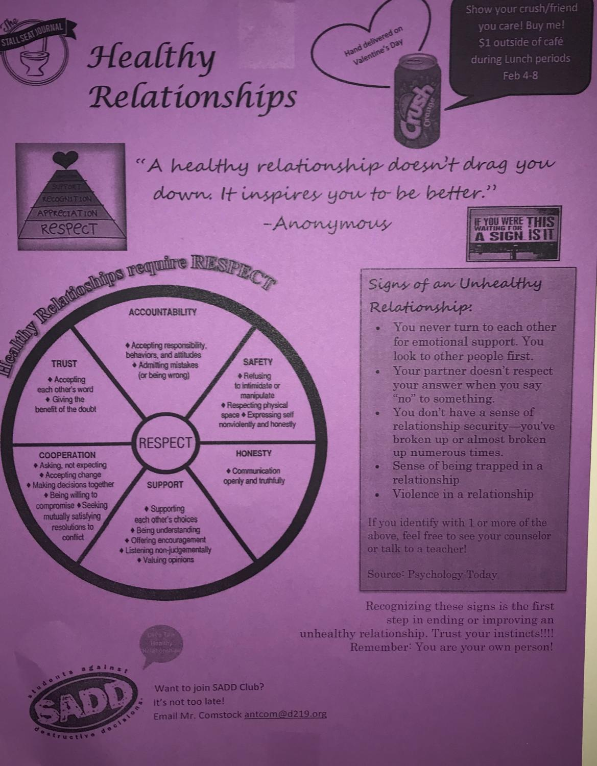 S.A.D.D. Club flier regarding Healthy Relationships Campaign