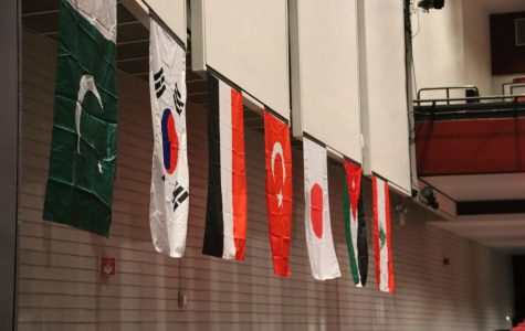 Flags hung around the auditorium featuring countries from some of the cultural clubs.