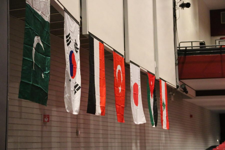 Flags+hung+around+the+auditorium+featuring+countries+from+some+of+the+cultural+clubs.