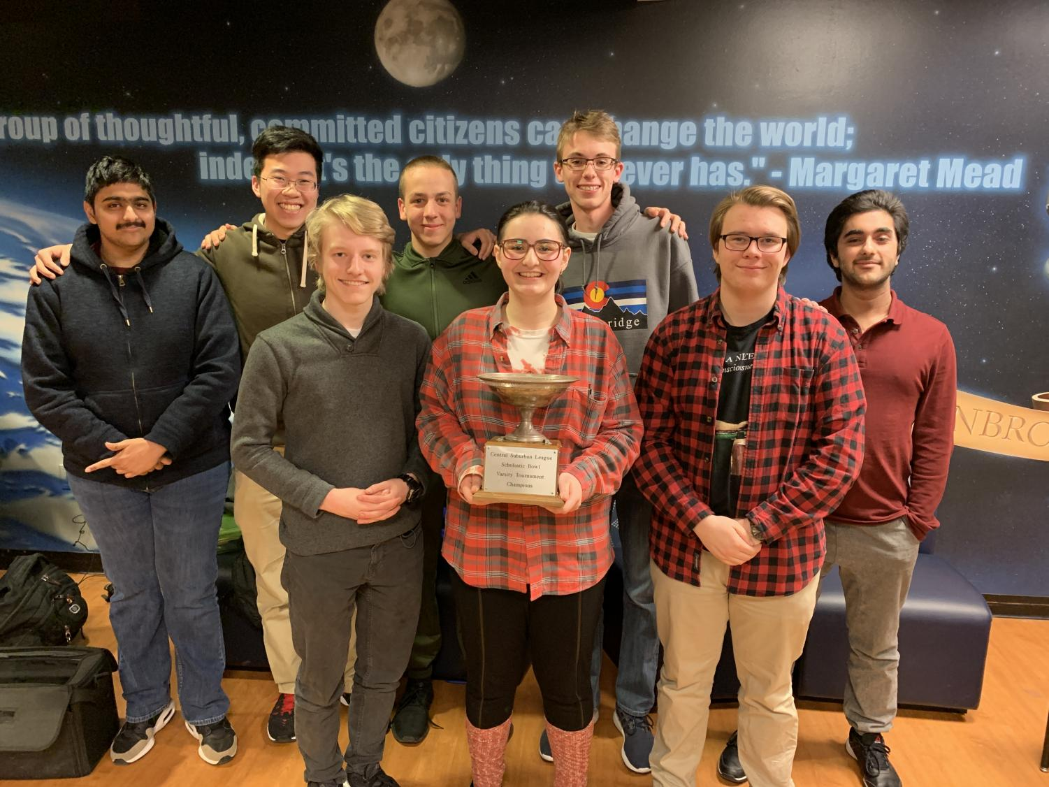 The Scholastic Bowl team posing for a picture after their win.