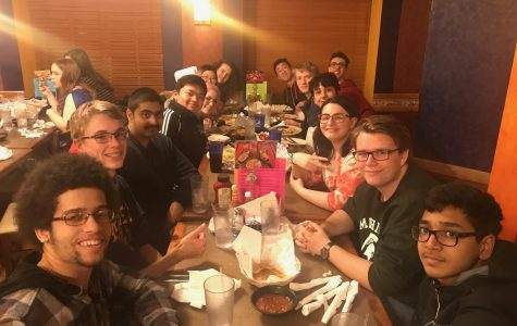 The Science Olympiad team at their annual team dinner before the State Tournament.