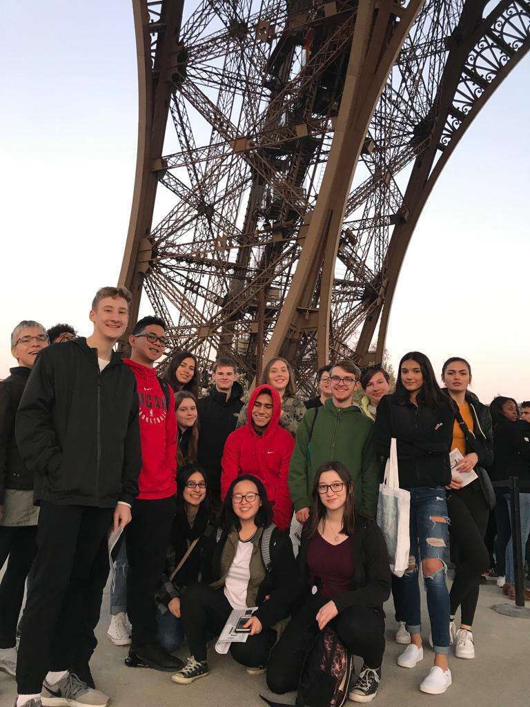 West and North students under the Eiffel Tower in Paris, France