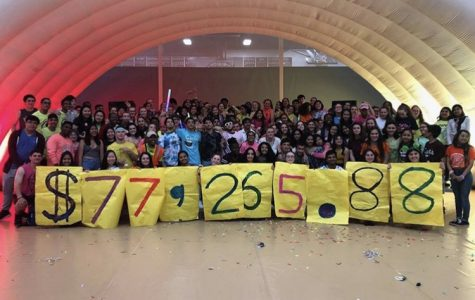 Dance marathon members holding up the amount raised in donations of 2019 at the annual end of the year dance.