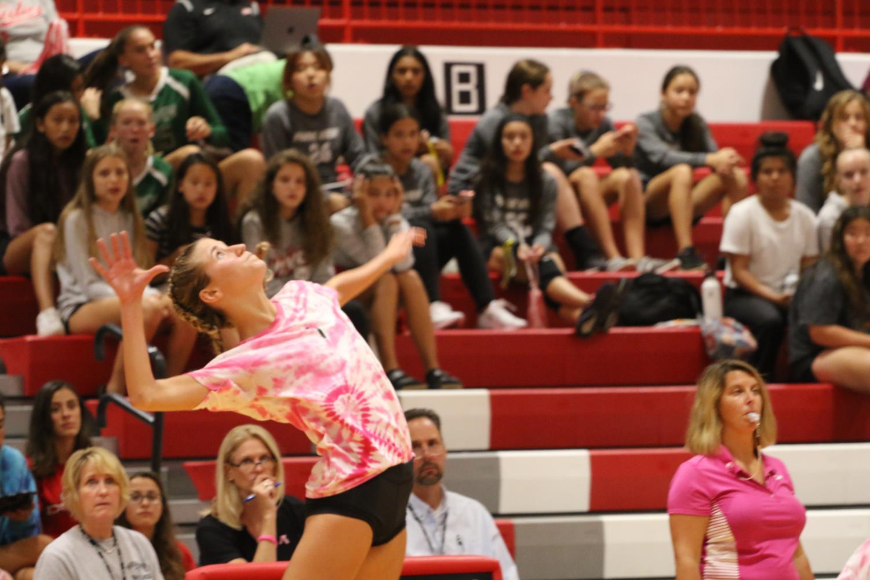 Sophomore+Gianna+Pehar+hitting+the+ball.