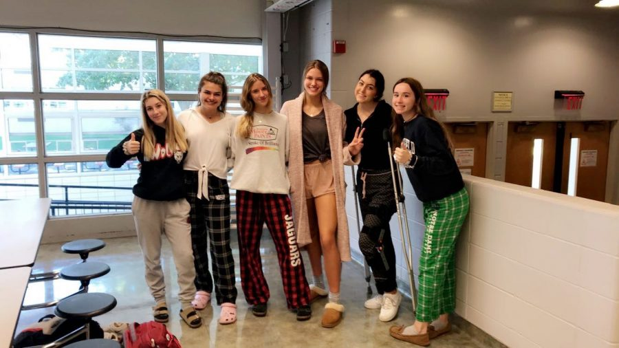 Sophomores+and+juniors+snoozing+through+their+study+hall+with+their+pajamas+on+for+pajama+day.+
