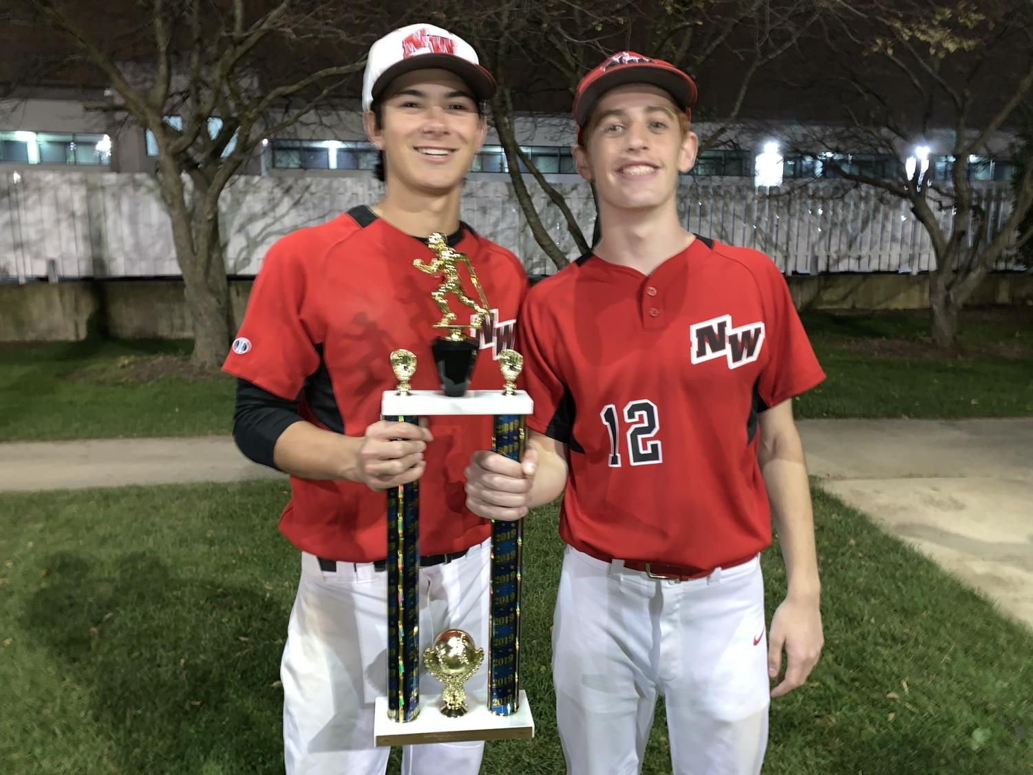 Captains Kyle Gibson and Andrew Pabst hoisting the trophy for the fall league.