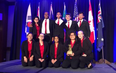 The Mock Trial team poses after winning 8th place at the Empire World Championships in New York.