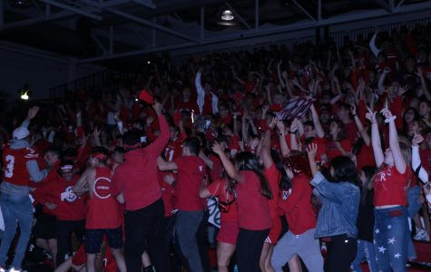 Class of 2020 seniors hyping up the pep assembly.