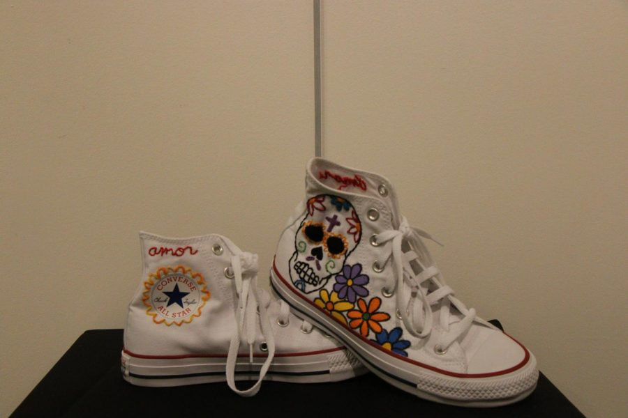 Day of the Dead inspired converse made by an art student.