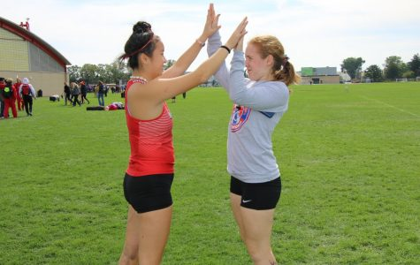 Senior Hannah Yun and senior Campbell Stepan meet up after the successful invite.