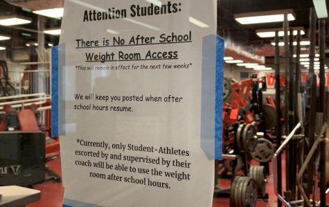 The sign outside of the weight room informing the students of its closure after school.