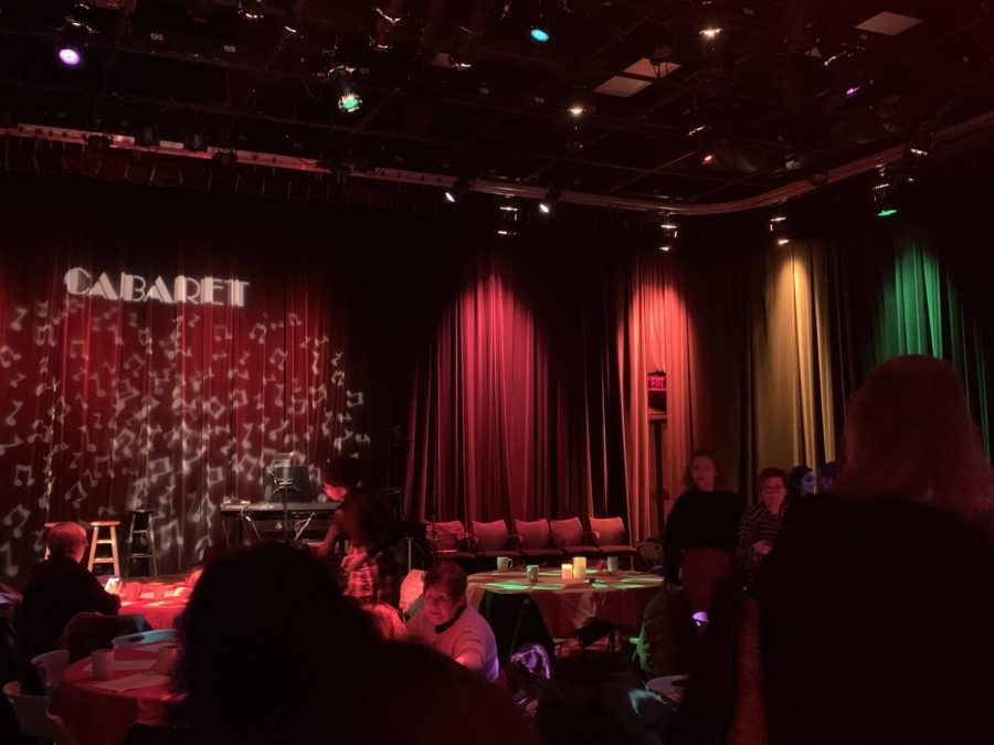 The 2019 stage setup for the coffeehouse cabaret.