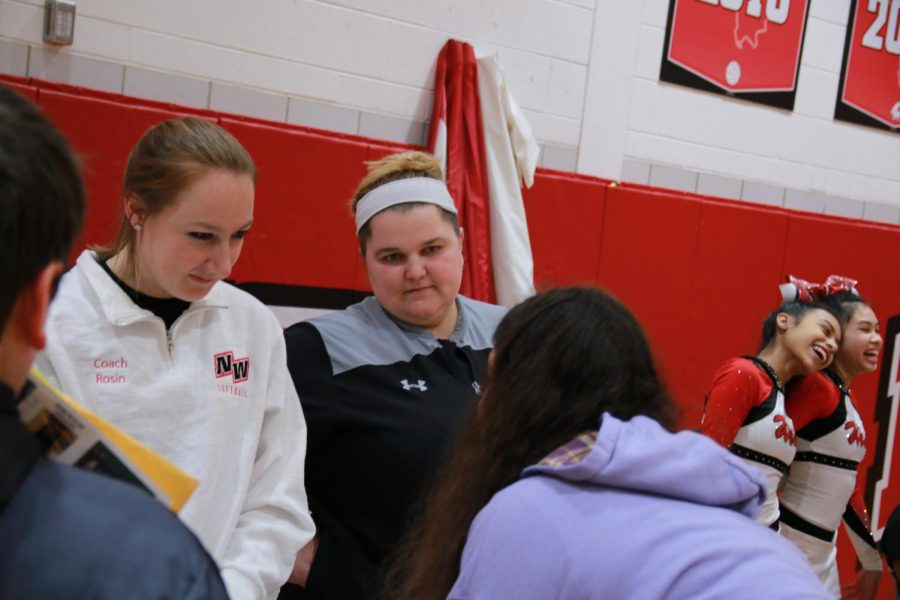 Coach Rosin recruiting incoming freshmen to join softball.