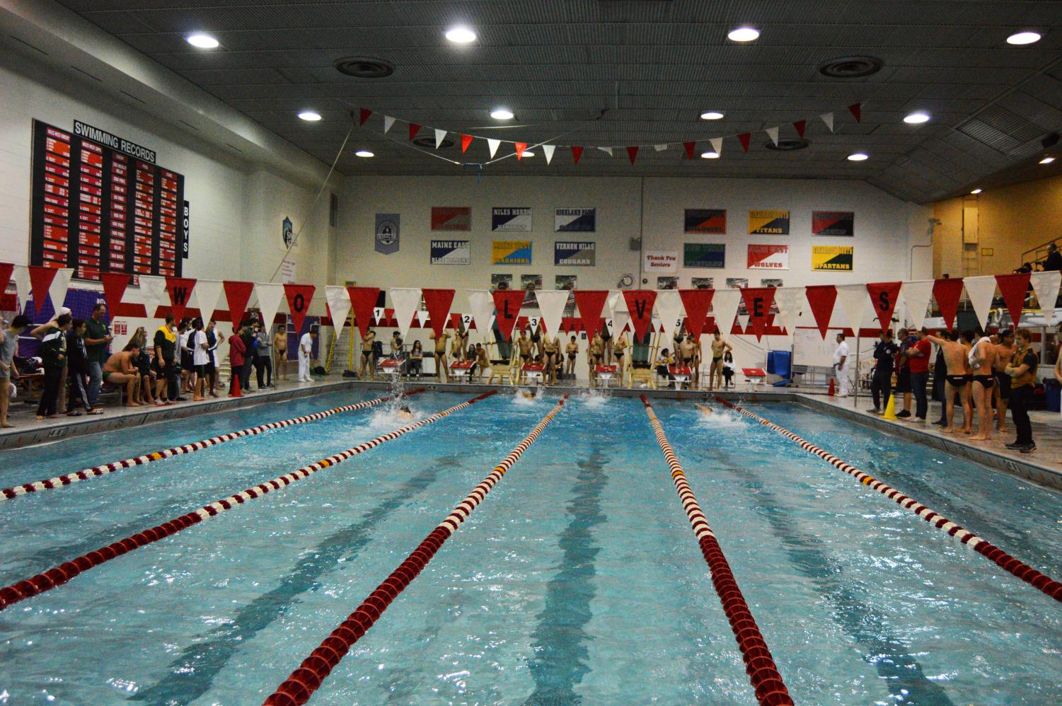 The+beginning+of+the+Niles+West+swimming+and+diving+meet+against+Glenbrook+North.+