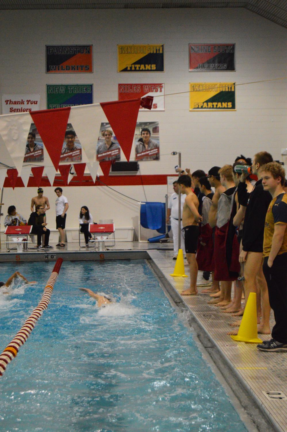 Swimmers+completing+the+100+yard+freestyle+event.+