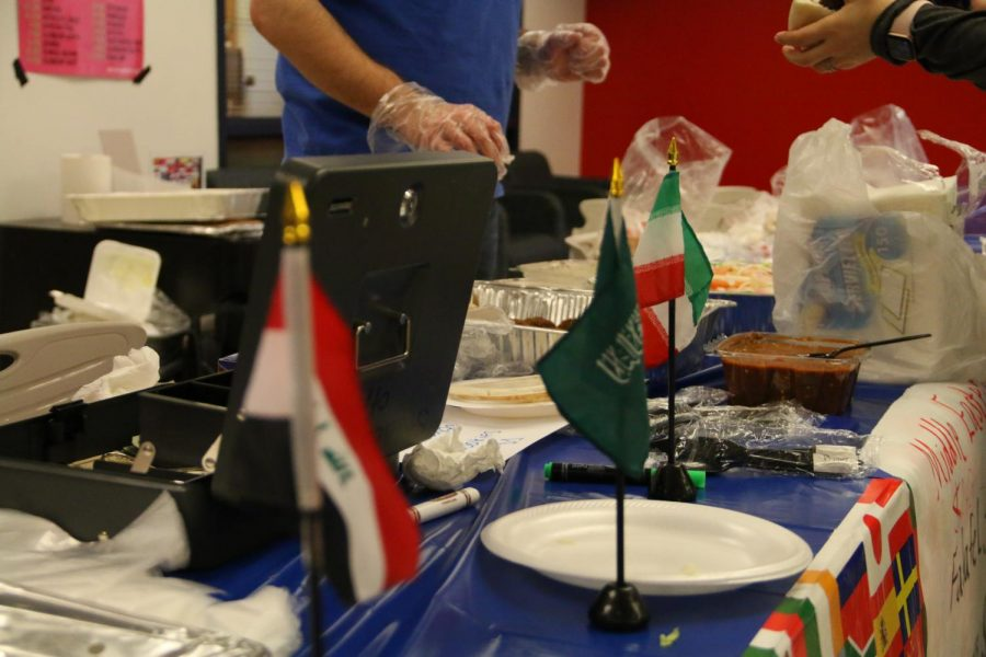 Middle Eastern displays flags to represent different countries that make up the Middle East.