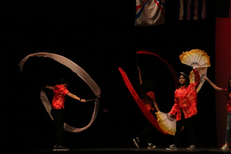 Chinese Club performing their ribbon dance.