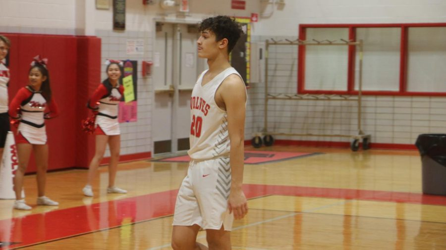 Senior Sean Perrin waiting for the ball to be brought back in bounds.