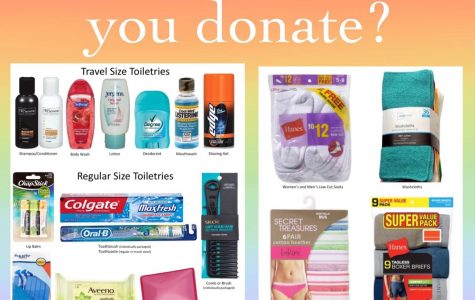 GSA poster of what items students and teachers can donate