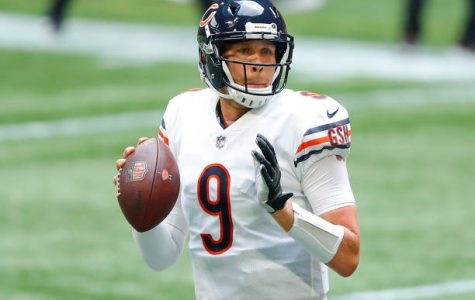 ATLANTA, GA - SEPTEMBER 27: Nick Foles #9 of the Chicago Bears passes during the second half of an NFL game against the Atlanta Falcons at Mercedes-Benz Stadium on September 27, 2020 in Atlanta, Georgia. (Photo by Todd Kirkland/Getty Images)