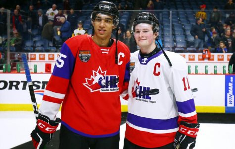 Top draft picks in the 2020 NHL Draft, Alexis Lafreniere (left) and Quinton Byfield (right), playing against each other in the 2020 CHL Prospect Game.