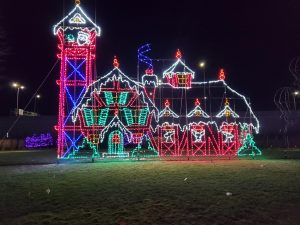 A large display of LED Santa's Home, complete with reindeer stables.