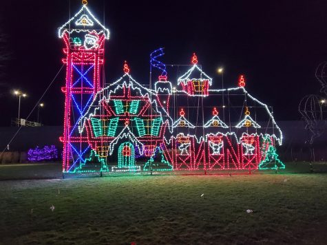 A large display of LED Santa