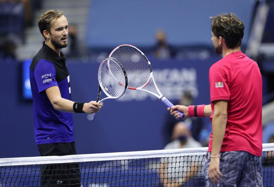 Daniil+Medvedev+%28right%29+and+Dominic+Thiem+%28left%29+tapping+racquets+at+the+USTA+Billie+Jean+King+National+Tennis+Center+after+Thiem+won+the+men%27s+singles+semifinal+match+at+the+2020+US+Open.+