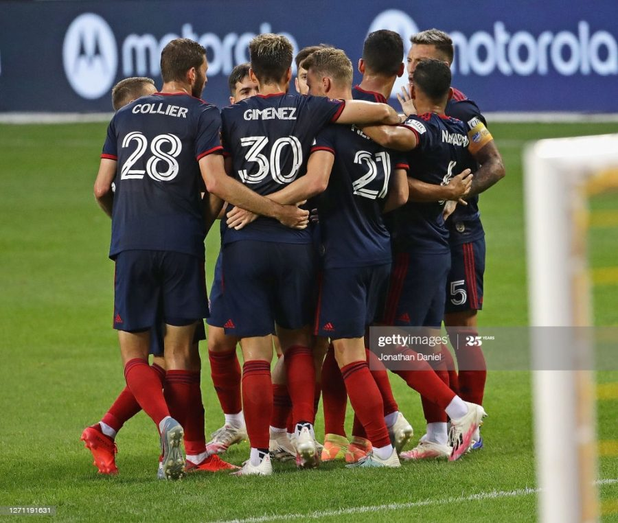 CHICAGO, ILLINOIS - SEPTEMBER 06: Members of the Chicago Fire FC celebrate a goal by Fabian Herbers #21 against the New England Revolution at Soldier Field on September 06, 2020 in Chicago, Illinois. (Photo by Jonathan Daniel/Getty Images)