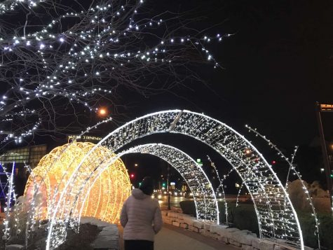 A Niles resident strolling through the Christmas decorations near the Police Department.