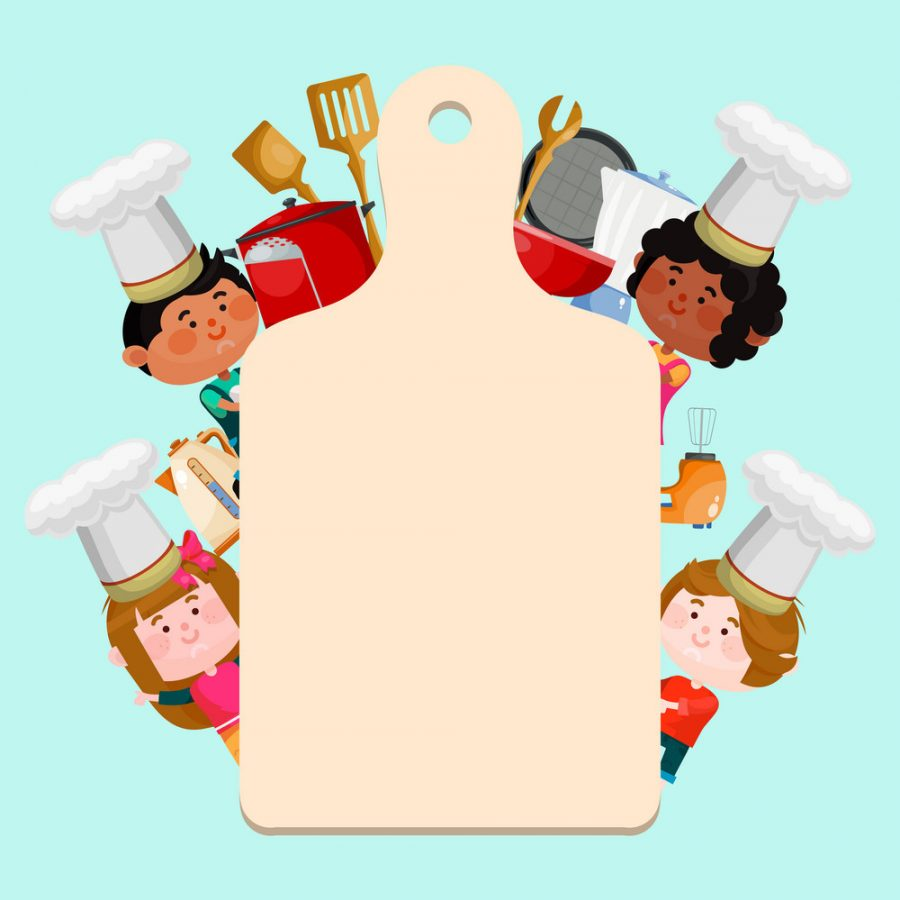 Chefs kids cooking classes template vector illustration. Cartoon characters kids in hats with empty board for text. Little chefs background templates for menu, classes or banner