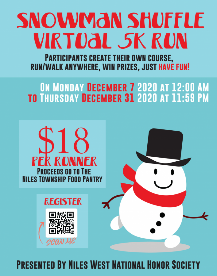 Promotion Flyer for NHS Virtual 5K Fundraiser for the Niles Township Food Pantry.