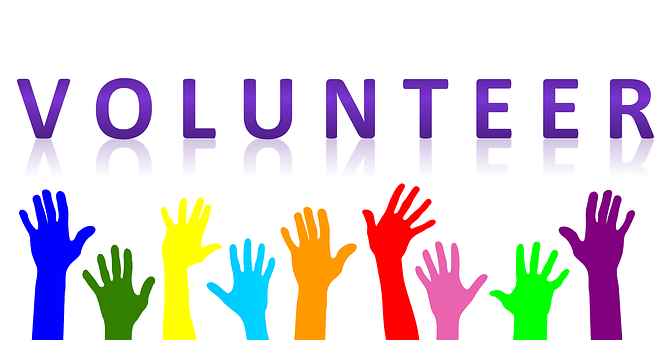 Volunteer colorful graphic.