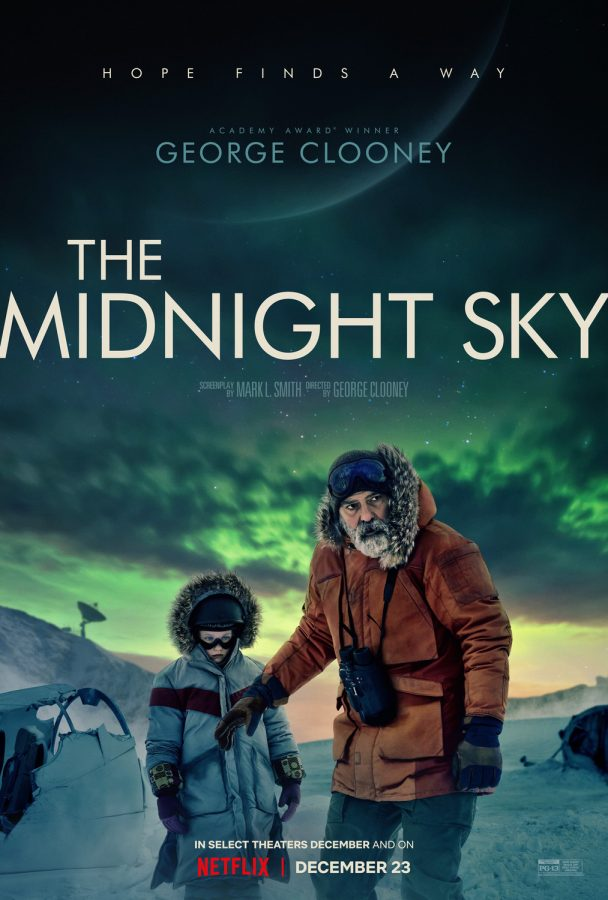 Netflix poster of scientist Augustine Lofthouse, played by George Clooney (right) and Iris played by Caoilinn Springall (left) on the trek in the Arctic.