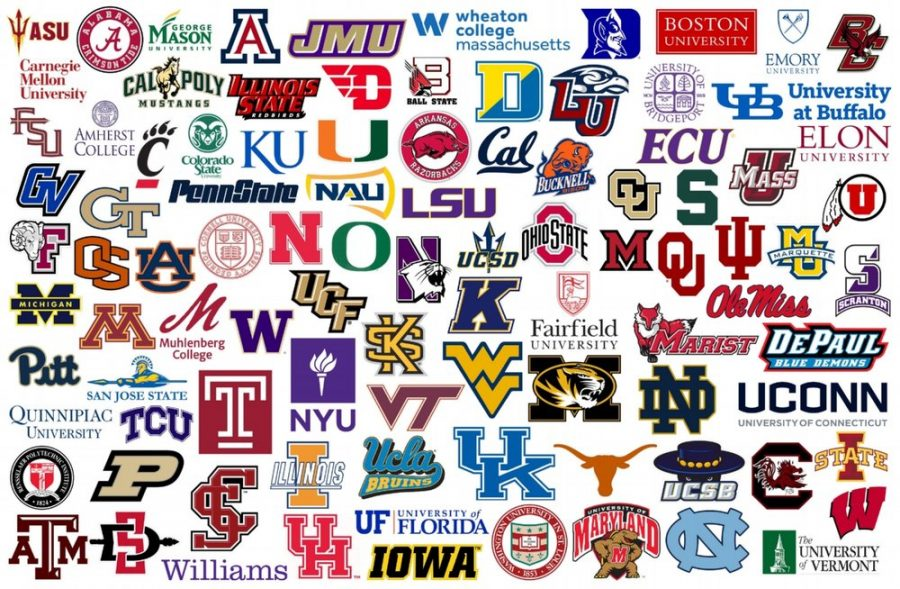 Logos of colleges and universities from across the United States.
