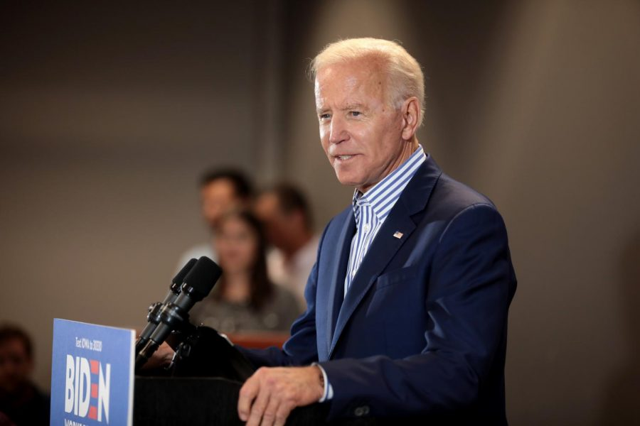 President Joe Biden speaking at a town hall hosted by the Iowa Asian and Latino Coalition at Plumbers and Steamfitters Local 33 in Des Moines, Iowa in 2019.