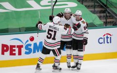 The top three rookies on the Chicago Blackhawks: Ian Mitchell (left), Brandon Hagel (middle), and Pius Suter (right).