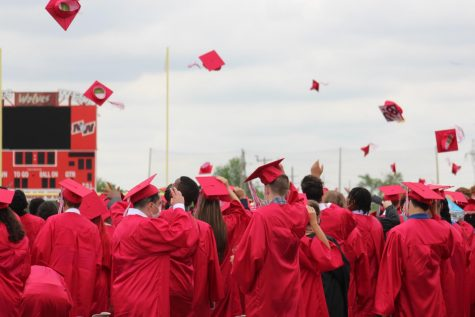 Class of 2021 throwing their caps in celebration.