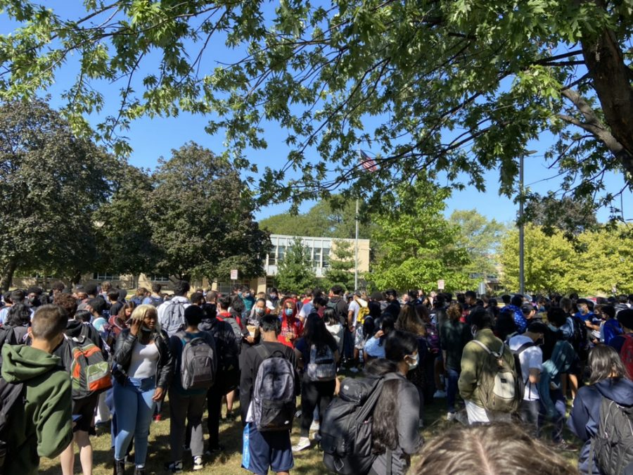 Students gathered outside after a fire alarm went off on Sep. 16.