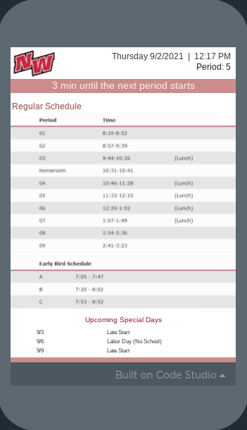 The new app shows the schedule for the day including the time left until the bell rings.