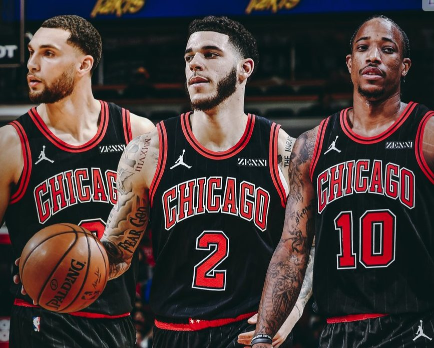 The big three players that will be influential to the Bulls regular season. Left (LaVine), middle (Ball), right (DeRozan).