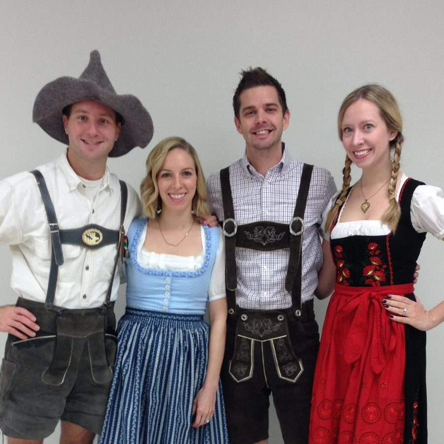 In previous years, German club sponsors dressed up in lederhosen and dirndl, traditional clothing for men and women.