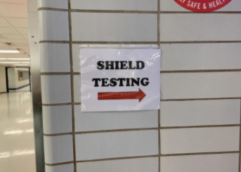 Sign outside of SHIELD-test site in contest gym